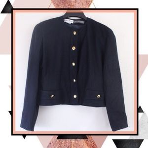 Bisang Couture Cropped Wool Jacket Gold Buttons 10